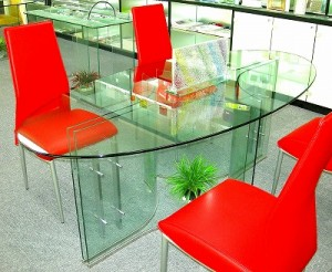 楕円型ガラステーブル